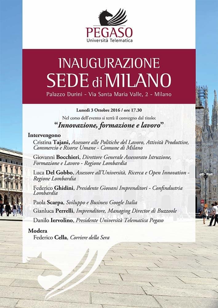 L Universita Telematica Pegaso Apre Una Sede A Milano