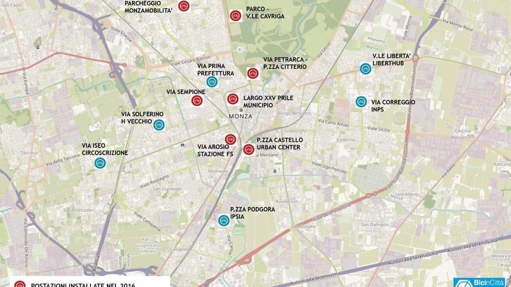 Mappa bike sharing Monza